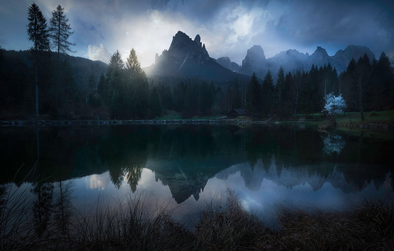 Photo wallpaper trees, mountains, lake, house, Italian Dolomites