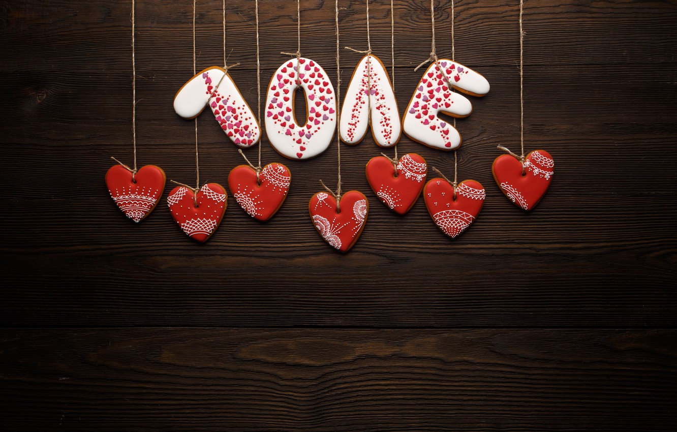 Photo wallpaper love, romance, hearts, red, love, romantic, hearts, Valentine's Day, gift, cookies