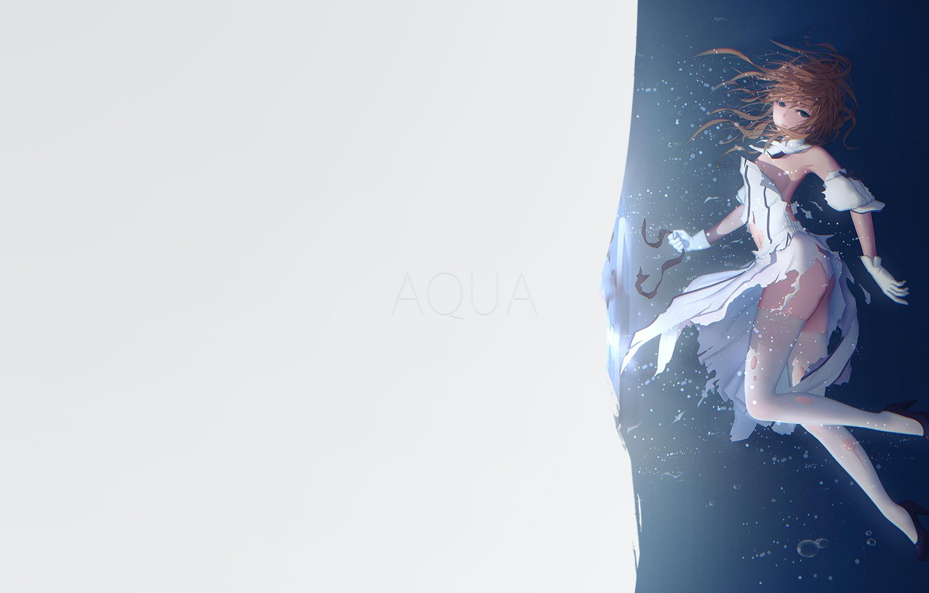 Photo wallpaper girl, minimalism, anime, Aqua, blue eyes, illustration, simple background, anime girl, Fate/Grand Order, Saber Lily