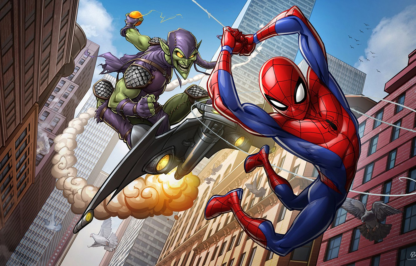 Photo wallpaper art, Spider-man, Marvel Comics, green goblin, Patrick Brown, PatrickBrown