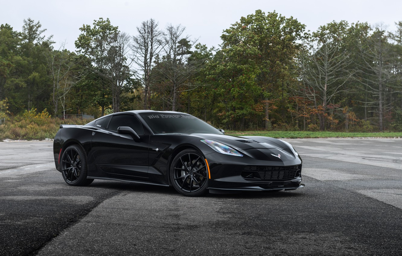 Photo wallpaper corvette, black, chevrolet, stingray