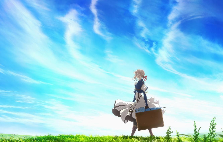 Photo wallpaper the sky, girl, anime, Violet Evergarden