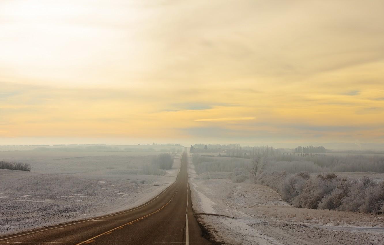 Photo wallpaper winter, road, field, nature, fog, morning