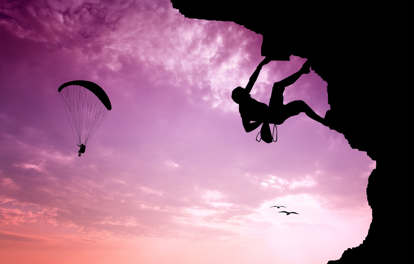 Photo wallpaper the sky, landscape, sunrise, mountain, the situation, goal, silhouette, extreme, climber, climber, insurance, courage, paraglider, …