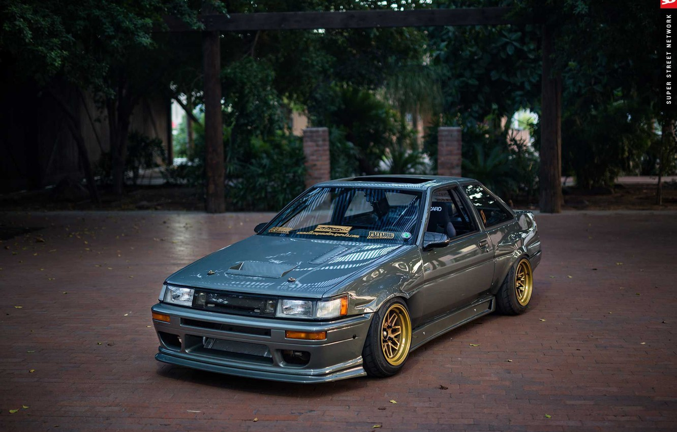 Photo wallpaper Toyota, AE86, 1986, Corolla, front end conversion