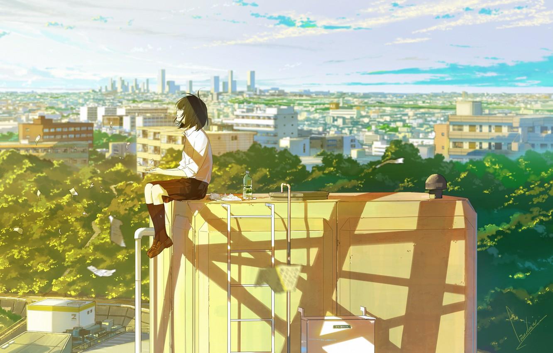 Photo wallpaper the sky, girl, the sun, clouds, light, trees, the city, home, anime, art, schoolgirl, one, …