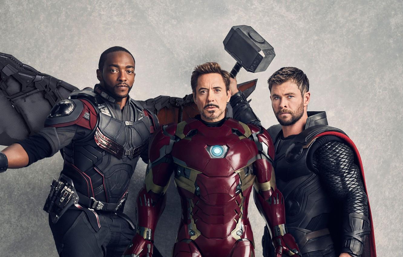 Photo wallpaper Falcon, Heroes, Costume, Wings, Actor, Movie, Hammer, Heroes, Cloak, Superheroes, Armor, Iron man, The film, …