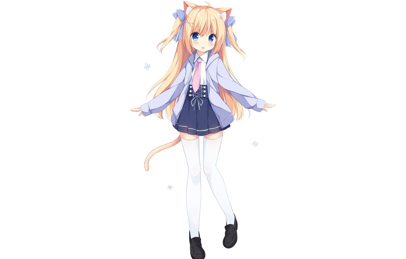 Photo wallpaper anime art girl white background ears