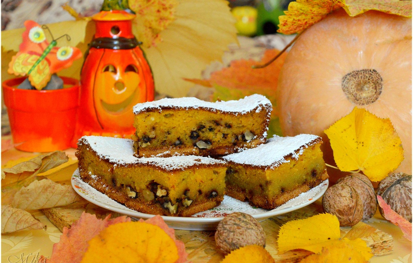 Photo wallpaper Pumpkin, Nuts, Pie, The sweetness