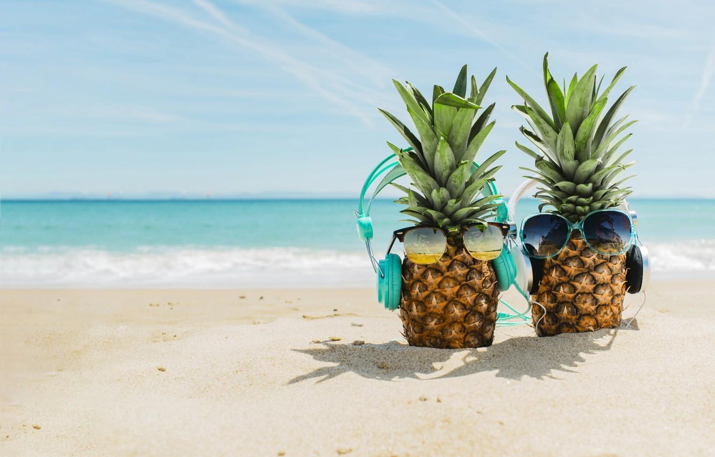 Photo wallpaper sand, sea, beach, summer, stay, headphones, glasses, summer, pineapple, happy, beach, vacation, sea, headphones, sand, …