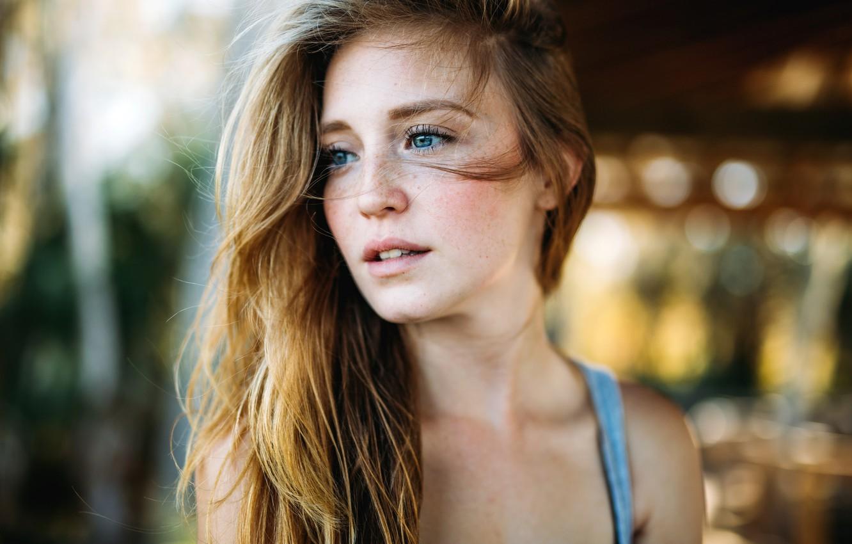 Photo wallpaper portrait, freckles, Emily Techera