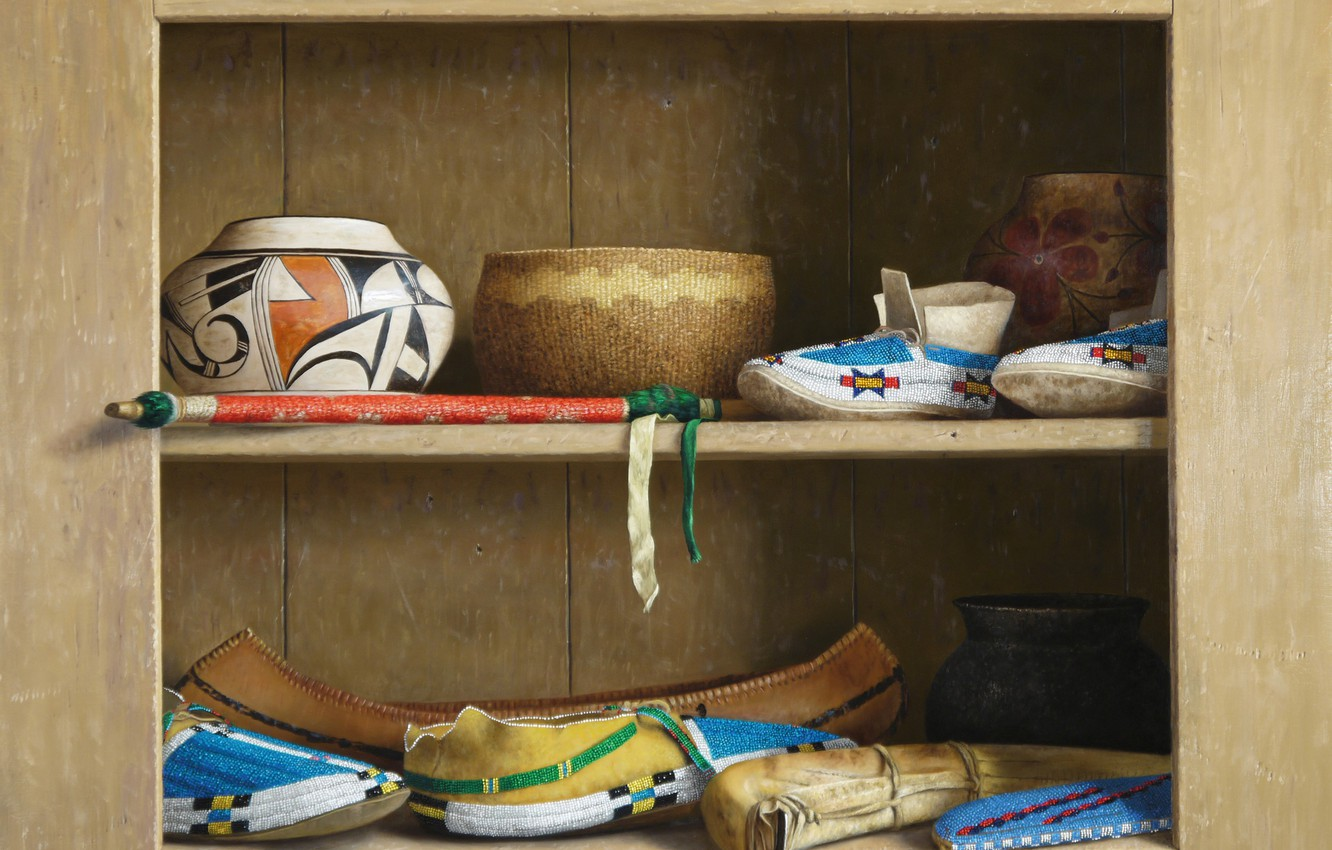 Photo wallpaper Still life, William Acheff, Indian still life, shoes, containers, Spirit of the Native People
