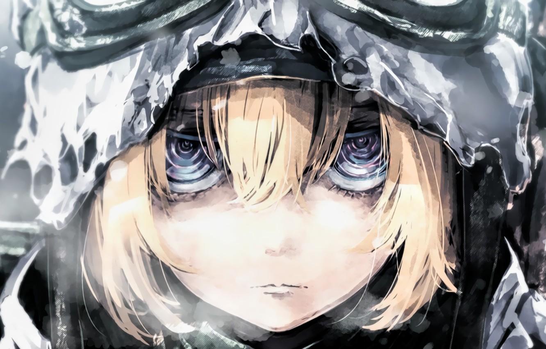 Photo wallpaper girl, soldier, rain, military, war, eyes, anime, blonde, asian, manga, pearls, oriental, asiatic, powerful, strong, …