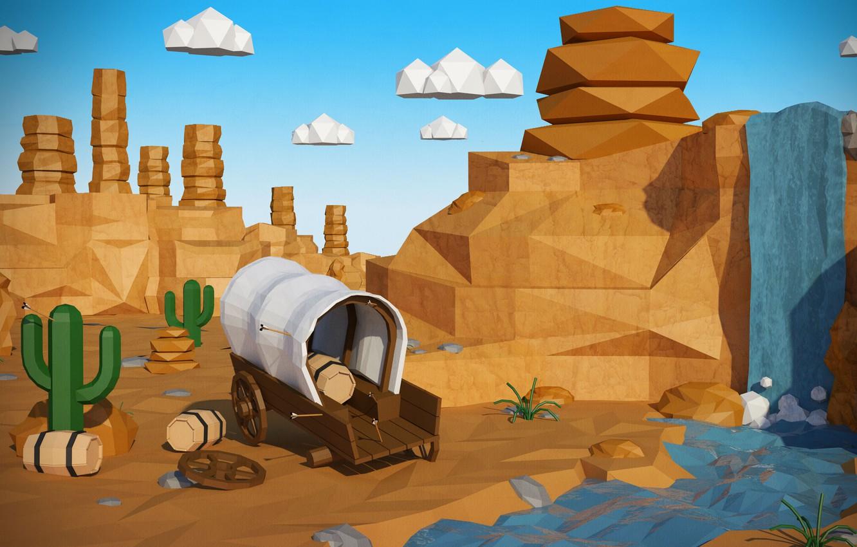 Photo wallpaper the sky, clouds, landscape, river, stones, rocks, waterfall, cactus, canyon, wagon, cacti, wheels, barrel, arrows, …