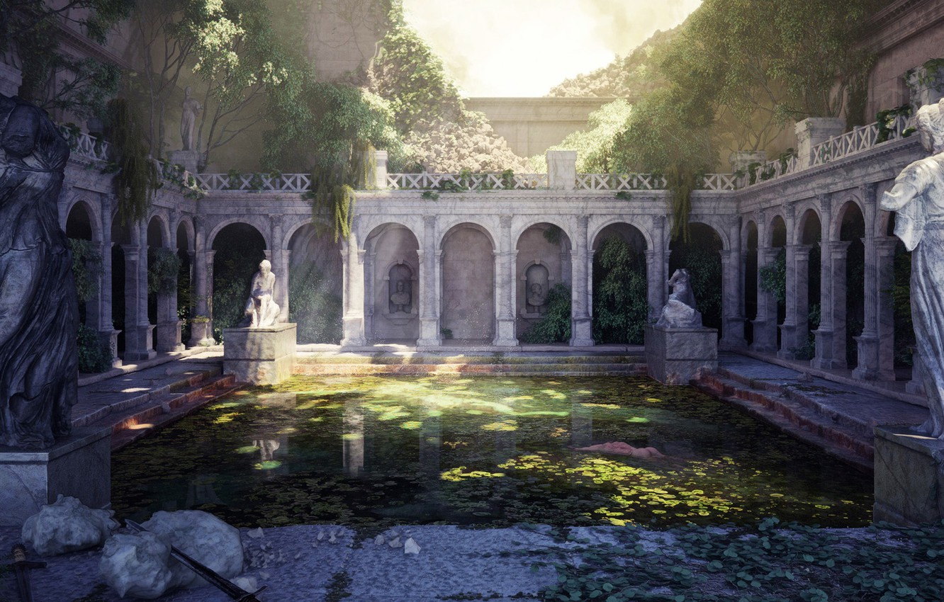 Photo wallpaper vegetation, architecture, statues, pond, The Fall of Rome