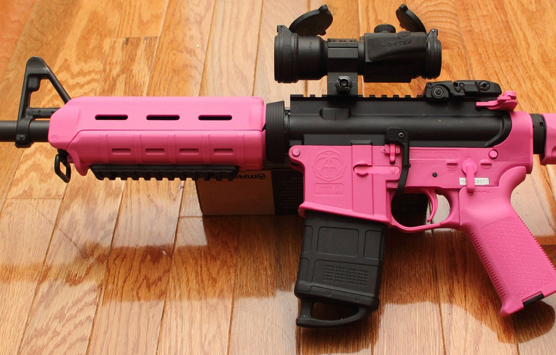 Photo wallpaper pink, ar15, assault rifle, magpul