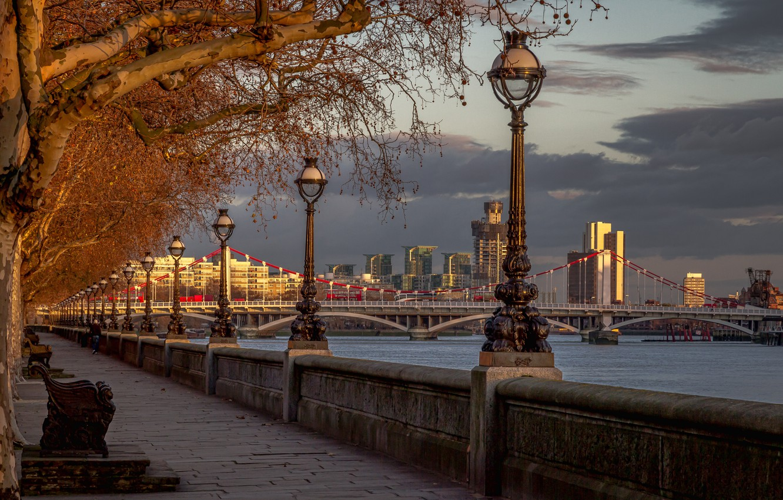 Photo wallpaper trees, bridge, river, England, London, lights, promenade, London, England, River Thames, Chelsea Bridge, Chelsea Bridge, …