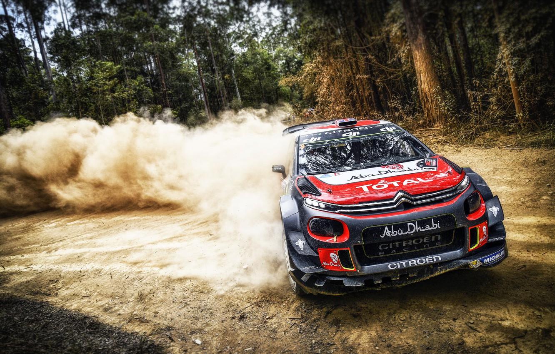 Photo wallpaper Auto, Dust, Forest, Sport, Machine, Race, Citroen, Skid, Citroen, Car, WRC, Rally, Rally, Kris Meeke, …