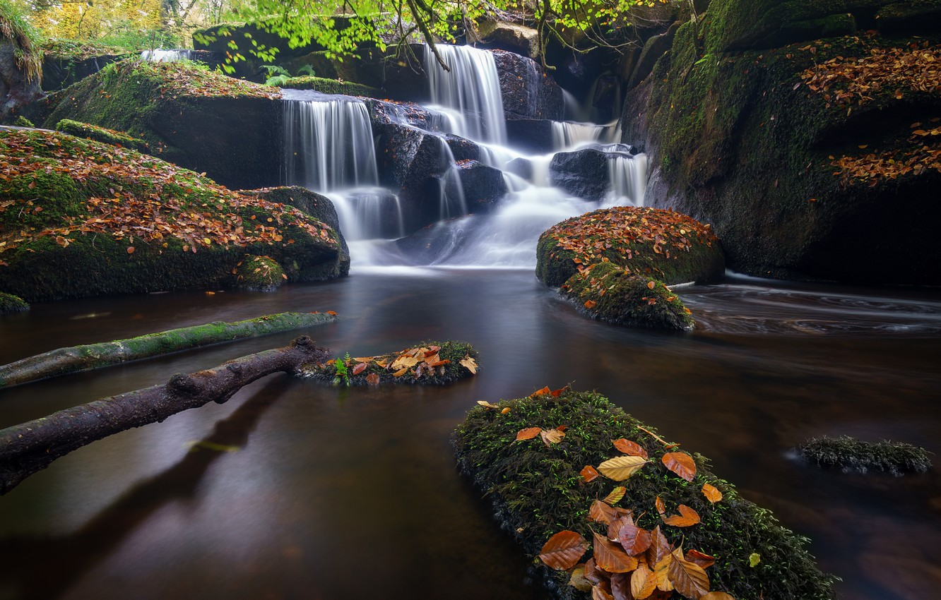 Photo wallpaper autumn, leaves, river, stones, France, waterfall, cascade, France, Brittany, Brittany, Saint-Herbot