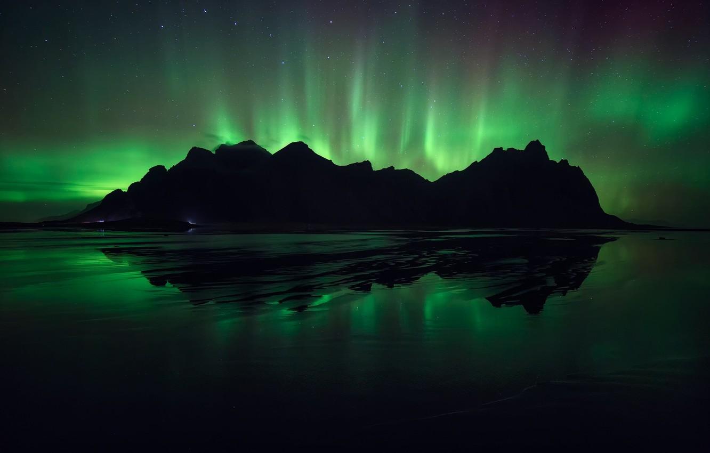 Photo wallpaper Nature, Night, Northern lights