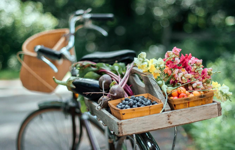 Photo wallpaper bike, food, fruit, bountiful summer