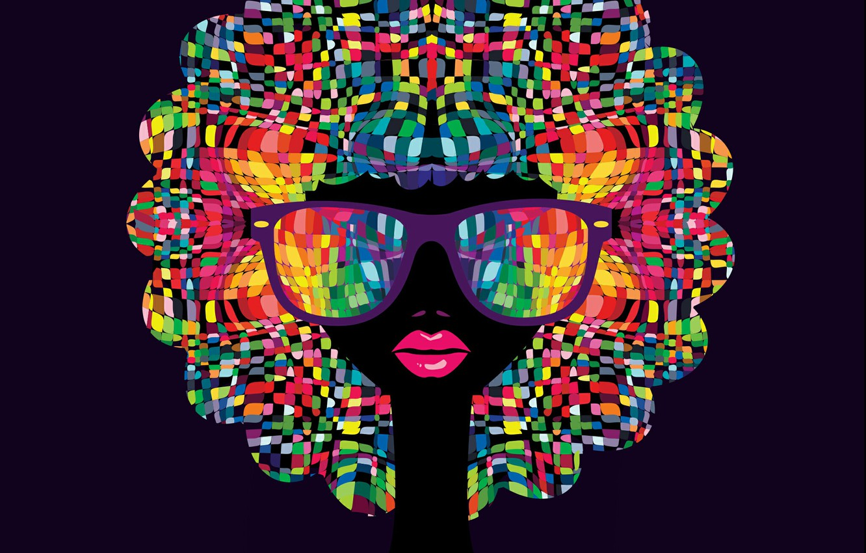 Photo wallpaper girl, mosaic, glasses, lips, colorfull