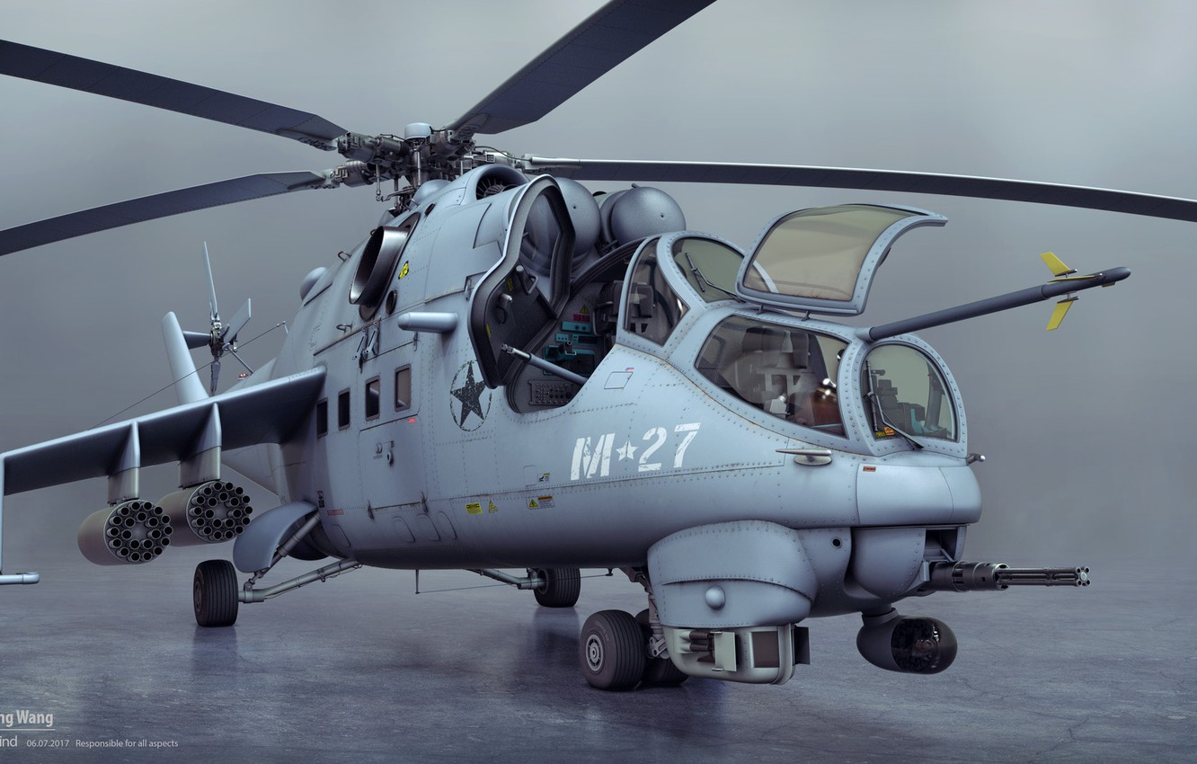 Photo wallpaper helicopter, front view, Mil mi24