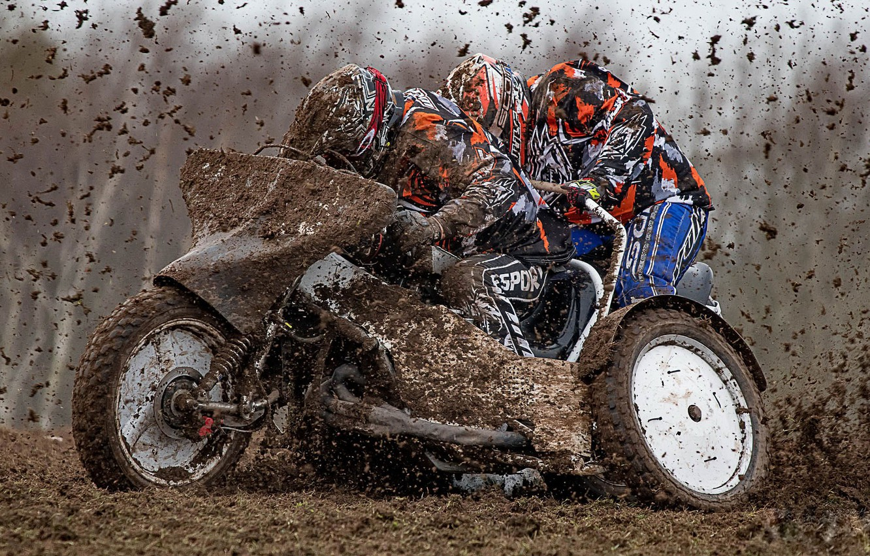 Photo wallpaper race, dirt, motorcycle
