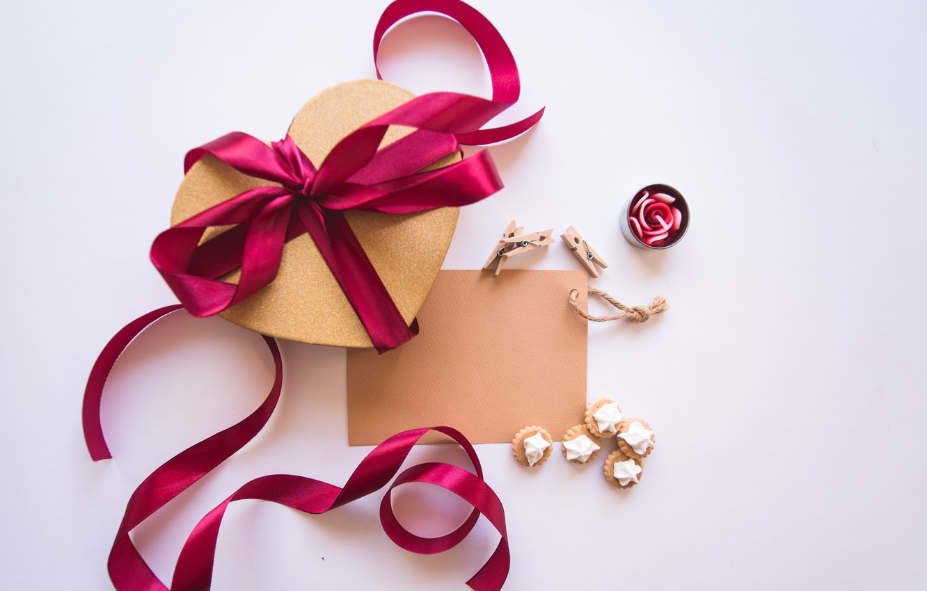 Photo wallpaper Holiday, Heart, Gift, Bow, Valentine's day