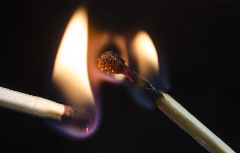 Photo wallpaper fire, matches, dance