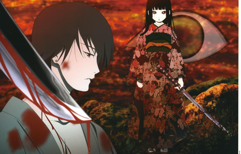 Photo wallpaper the victim, katana, red eyes, penalty, blood, Enma Ai, Hell Girl, Jigoku Shoujo, a bloody …