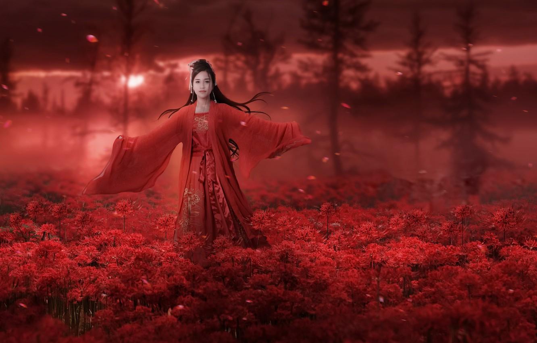 Photo wallpaper girl, nature, style, Asian