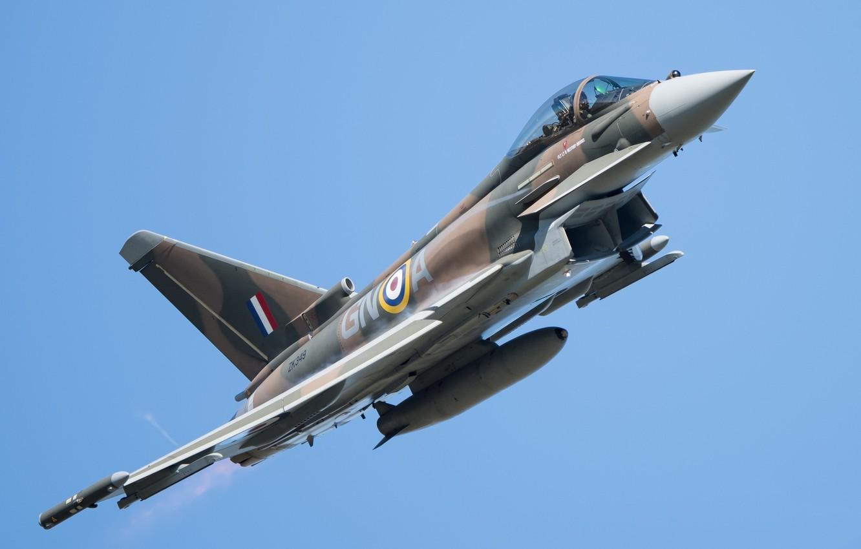 Photo wallpaper the sky, flies, Eurofighter Typhoon, combat aircraft