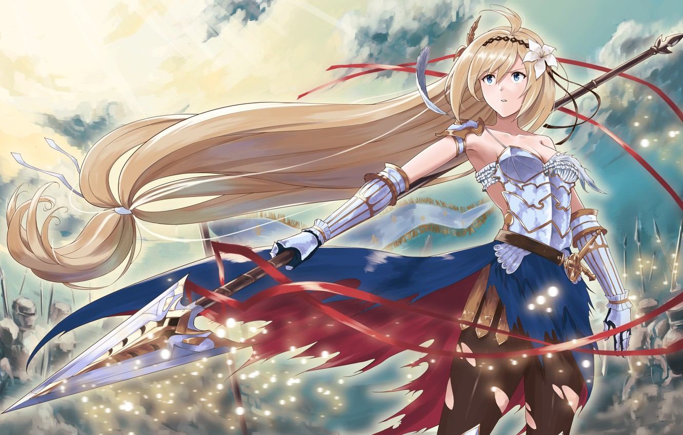 Wallpaper Girl Weapons Pen Army Spear Anime Art Granblue
