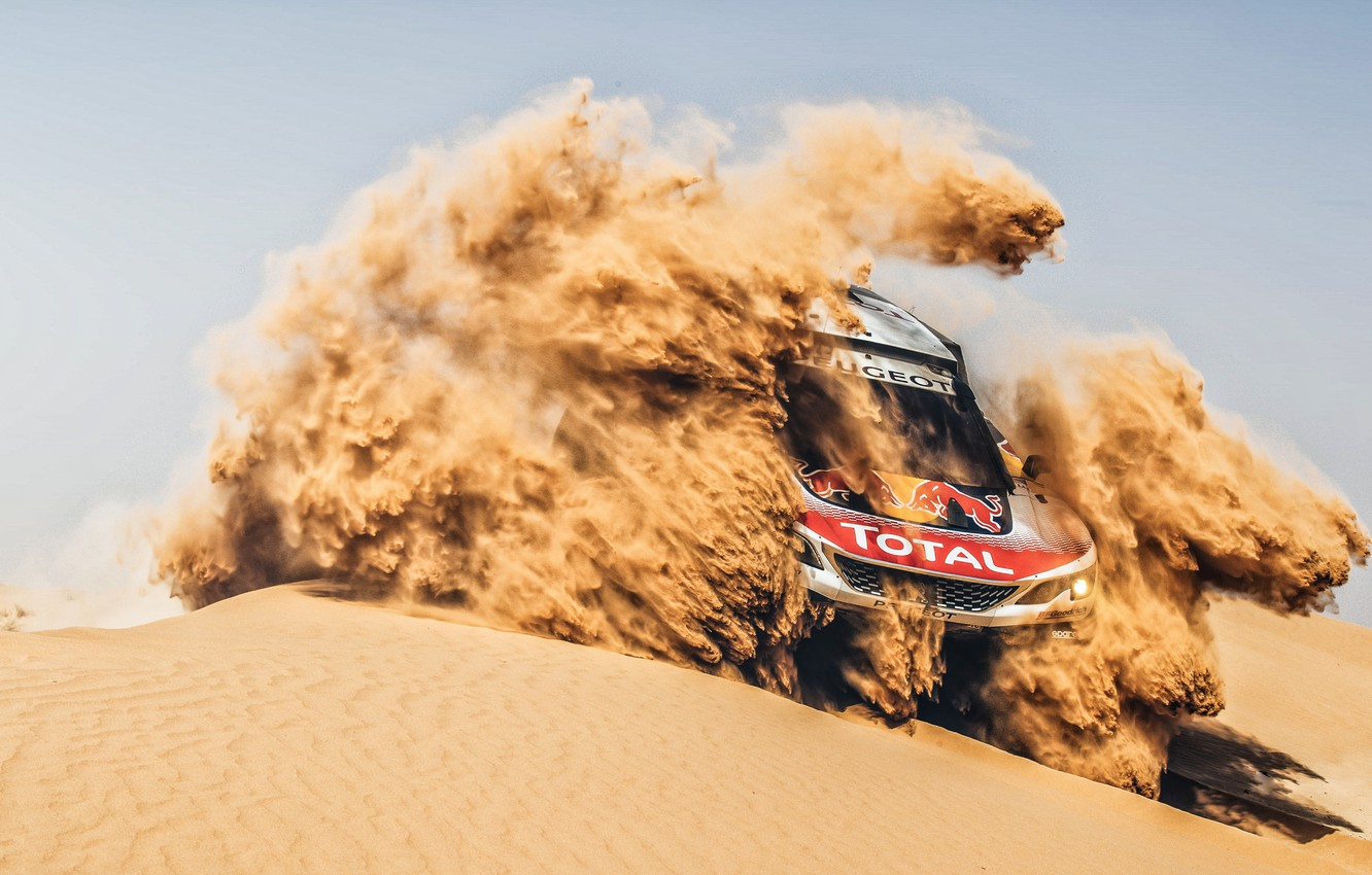 Photo wallpaper Sand, Auto, Sport, Machine, Race, Peugeot, Lights, Red Bull, Rally, Dakar, Dakar, SUV, Rally, Sport, …