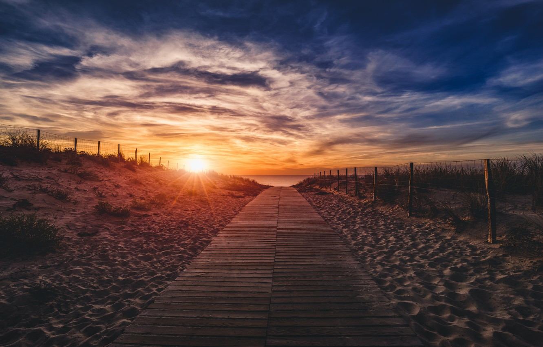 Photo wallpaper sea, beach, sunset