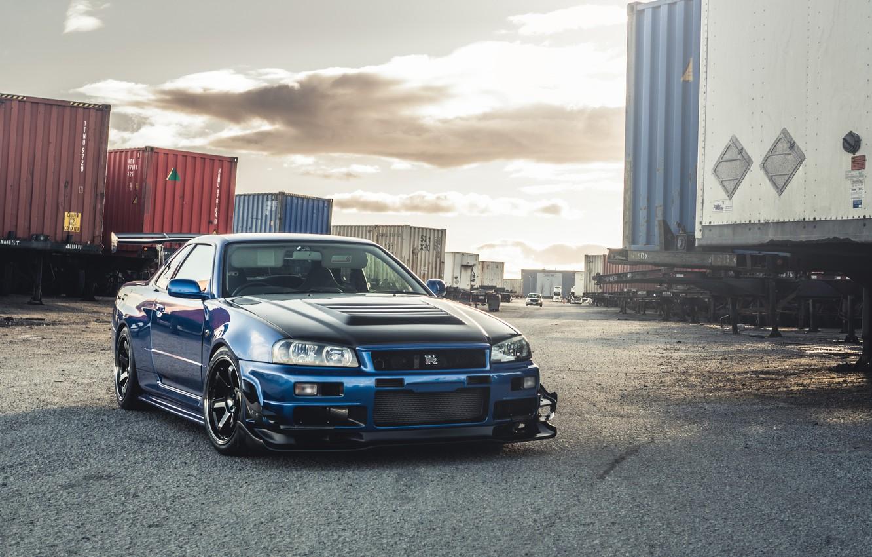 Photo wallpaper GTR, Nissan, Blue, Skyline, R34