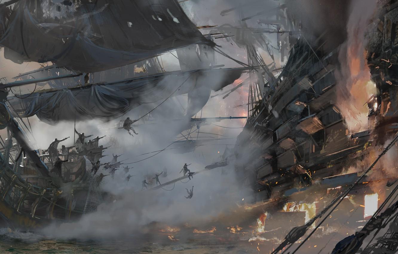 Photo wallpaper game, pirate, war, fight, pirate ship, ship, kaizoku, Skull and Bones