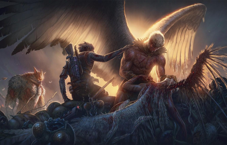 Wallpaper Sword Gun Blood Monster Weapon Dead Wings Man