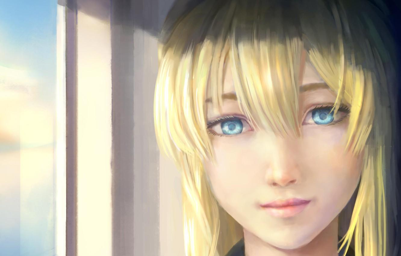 Photo wallpaper dress, anime, blue eyes, face, blonde, japanese, bishojo, mahou, Violet Evergarden