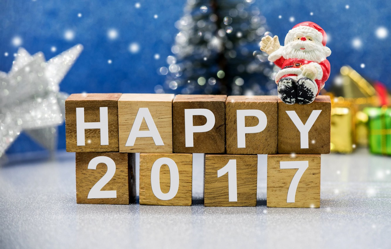 Photo wallpaper holiday, cubes, new year, gifts, tree, Santa Claus, figure, 2017