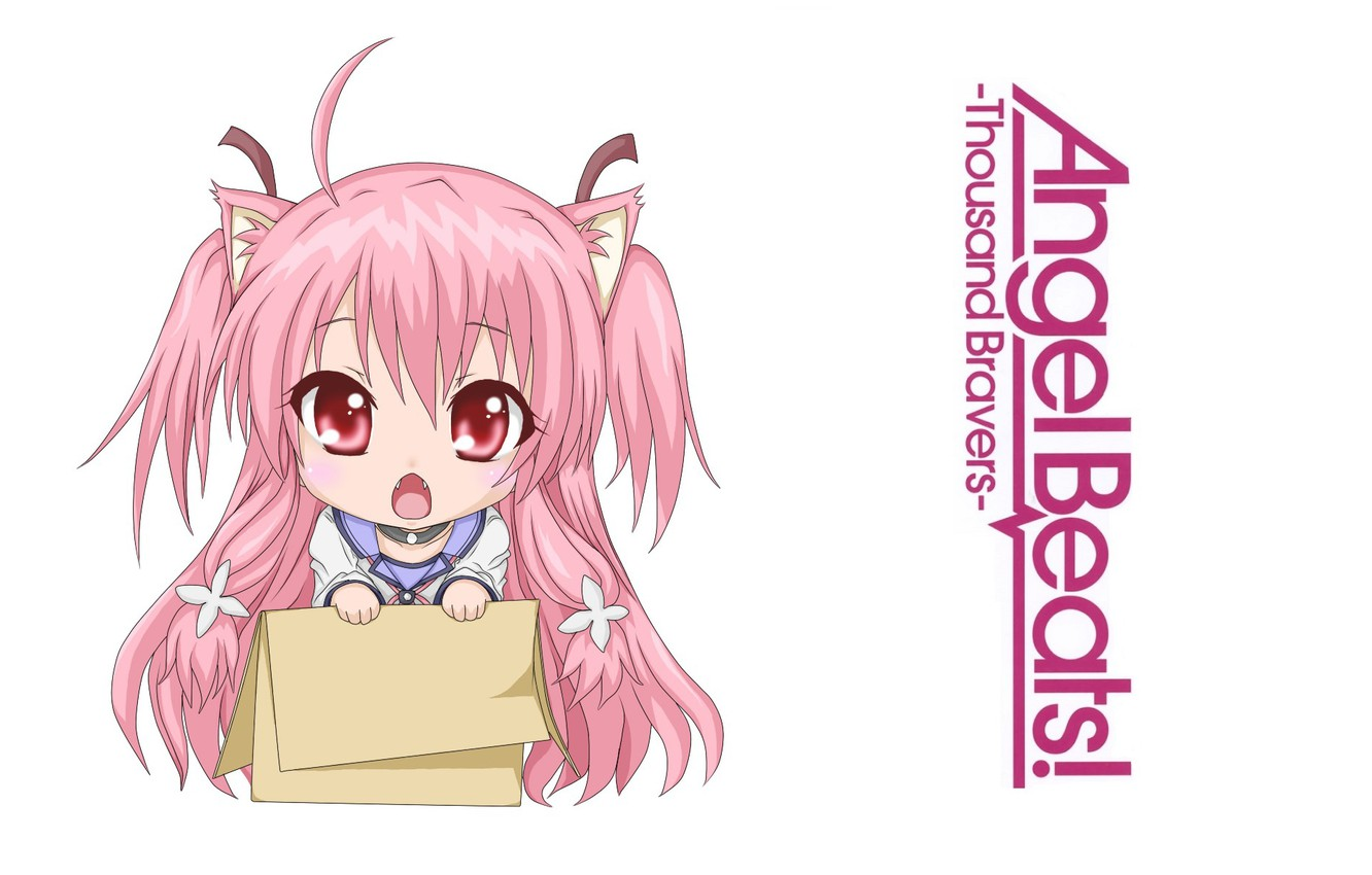 Photo wallpaper white background, Chibi, red eyes, ears, pink hair, big eyes, Yui, Angel Beats!, in the …