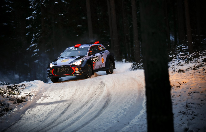 Photo wallpaper Winter, Auto, Snow, Forest, Sport, Machine, Race, Hyundai, Car, WRC, Rally, Rally, i20, Dani Sordo, …