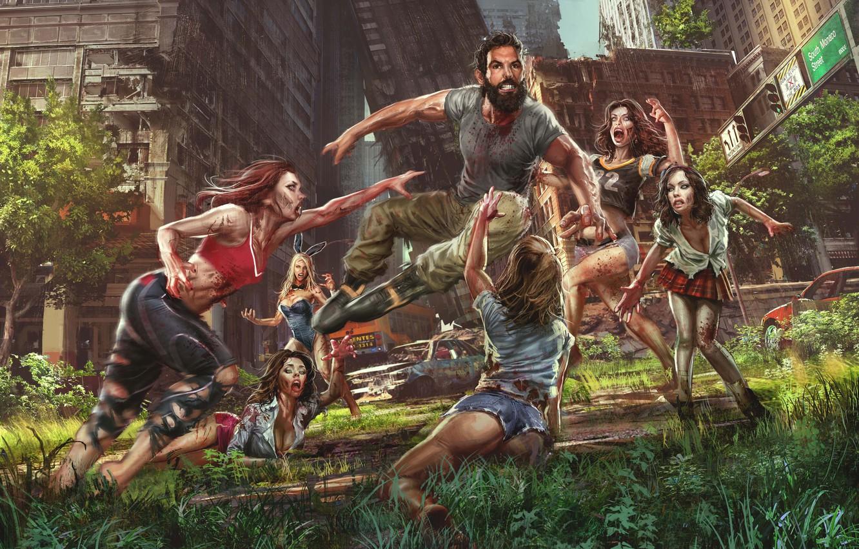 Photo wallpaper the city, girls, man, zombies, attack, Jude Smith, girls zombie, Save Dan