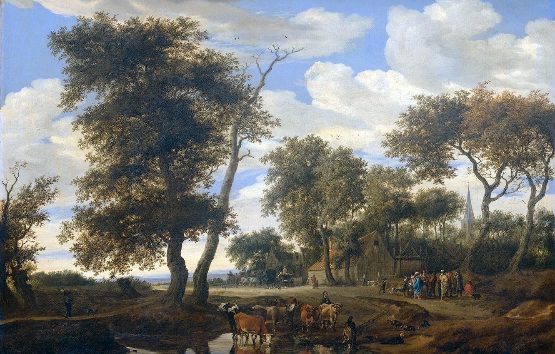 Photo wallpaper landscape, oil, picture, canvas, The Edge Of The Village, Solomon van Ruisdael
