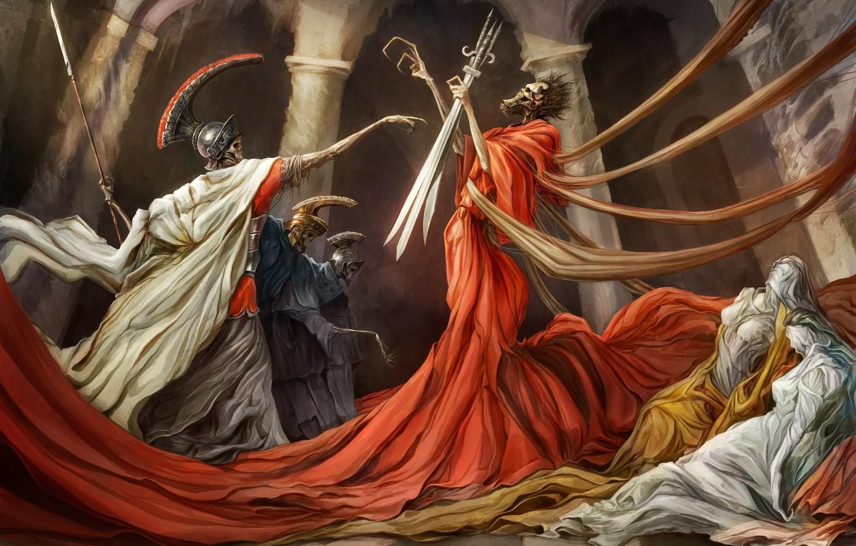 Wallpaper Fantasy Soldiers Skulls Death Weapons Artwork