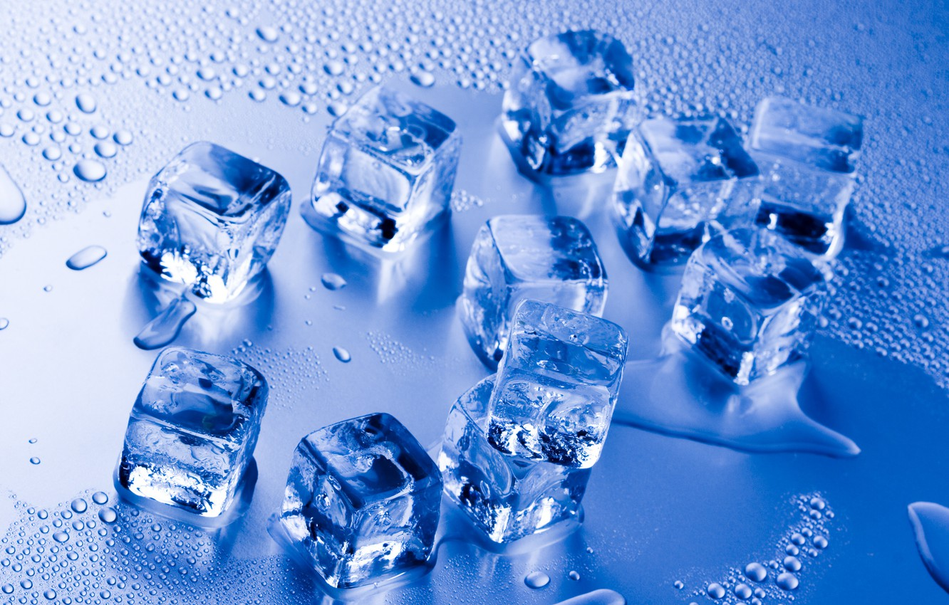 Photo wallpaper water, water, ice cube, ice cube