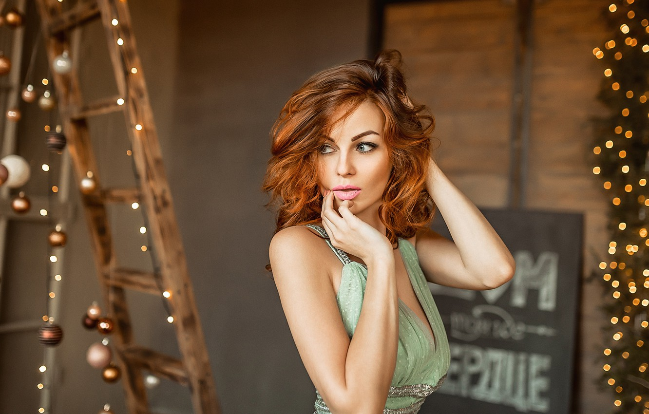 Photo wallpaper girl, lights, hands, makeup, red, redhead, ladder, A Diakov George