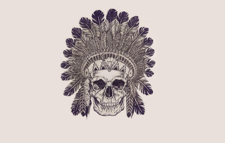 Photo wallpaper skull, feathers, skeleton, sake, Indian, indian