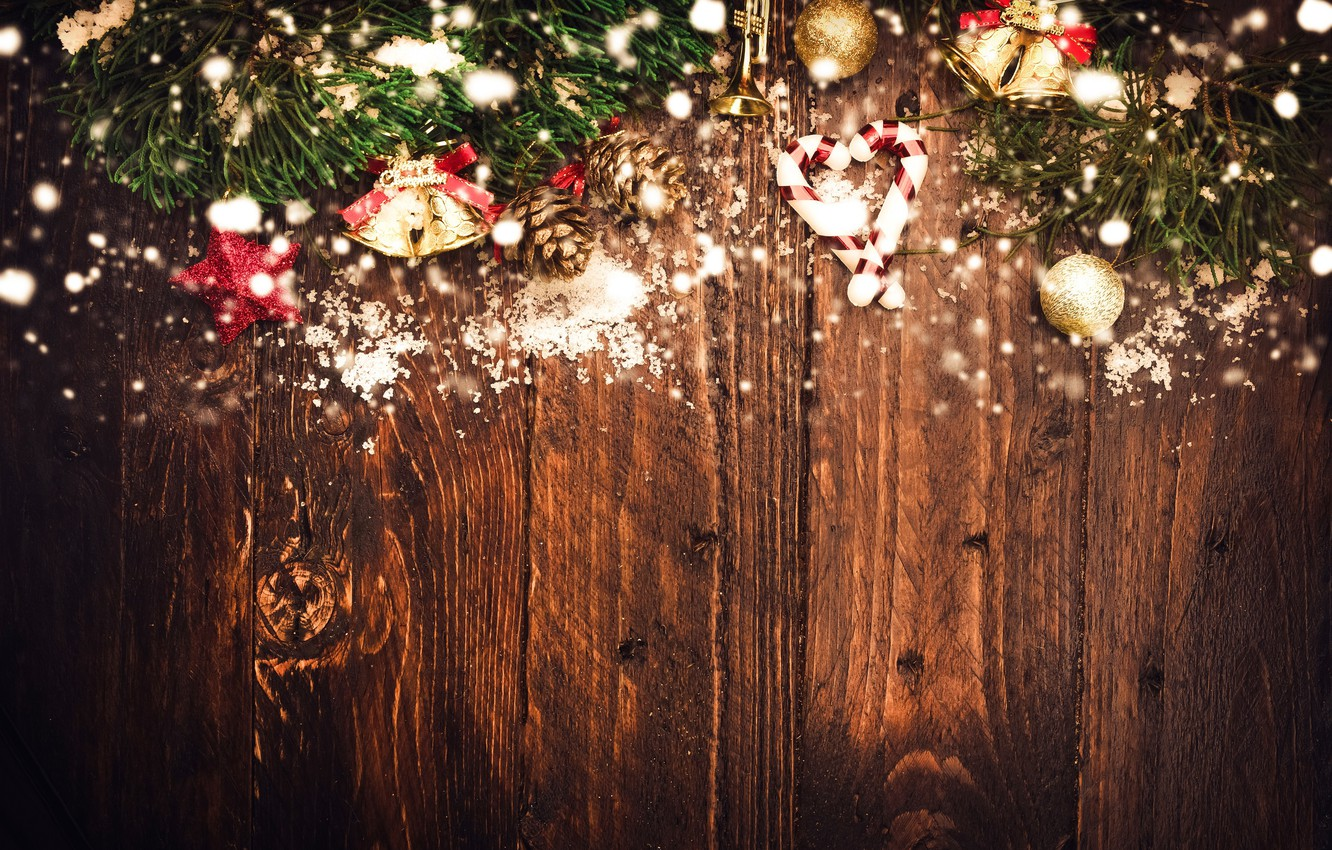 Photo wallpaper New year, Decoration, Fir-tree branches